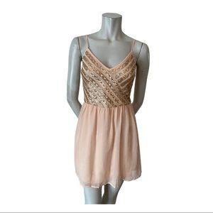 Hollister Peach Minidress with Gold Sequins Size M